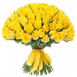 Букет желтых роз Эквадор 151 штука 60 см