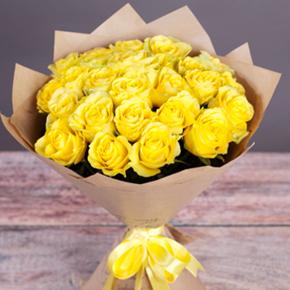Букет желтых роз Эквадор 25 штук 80 см