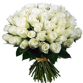 Букет белых роз 51 штука 50 см