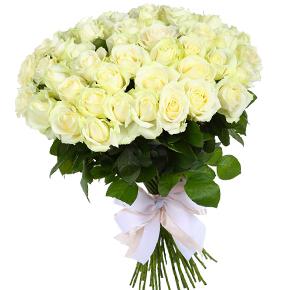 Букет белых роз 51 штука 90 см