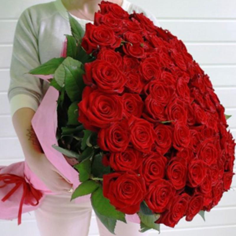 Букет красных роз Эквадор 151 штука 70 см