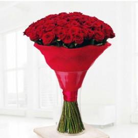 Букет красных роз Эквадор 51 штука 80 см
