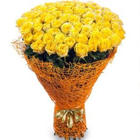Букет желтых роз Эквадор 51 штука 100 см