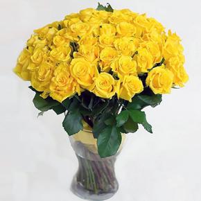 Букет желтых роз Эквадор 51 штука 40 см