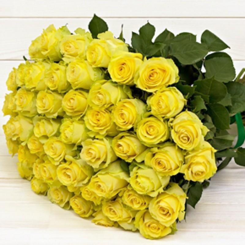 Букет желтых роз Эквадор 51 штука 80 см