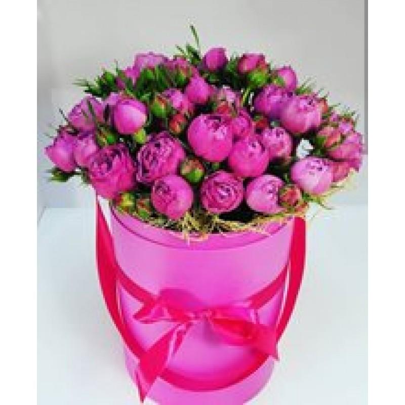 Пионовидные розы в шляпной коробке №2