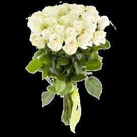Букет белых роз Эквадор 25 штук 60 см