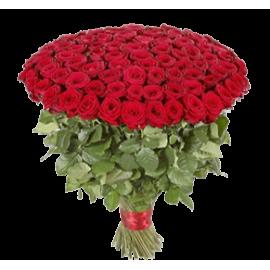 Букет красных роз Эквадор 101 штука 40 см