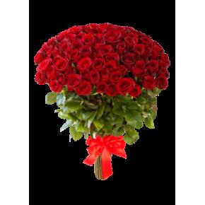Букет красных роз Эквадор 101 штука 50 см