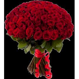 Букет красных роз Эквадор 101 штука 60 см