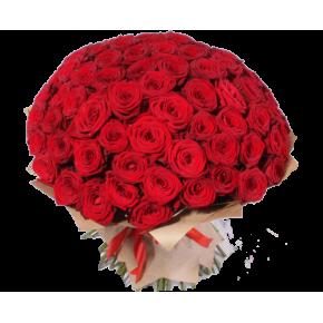 Букет красных роз Эквадор 101 штука 70 см