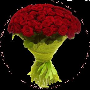 Букет красных роз Эквадор 101 штука 80 см