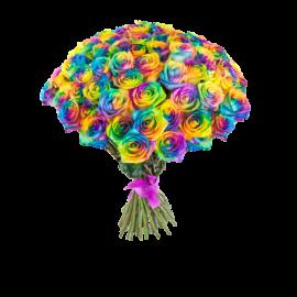 Букет радужных роз 25 штук 80 см