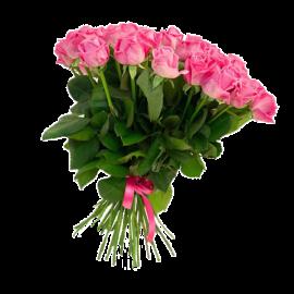 Букет розовых роз Эквадор 25 штук 60 см