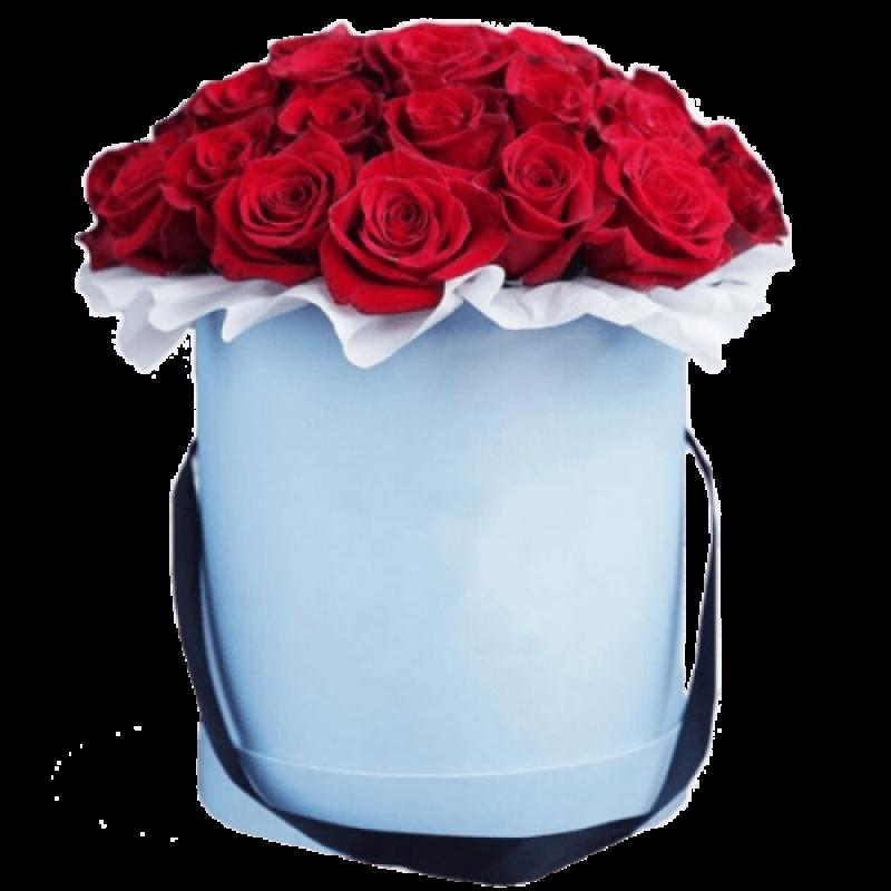 Красные розы в шляпной коробке 25 штук