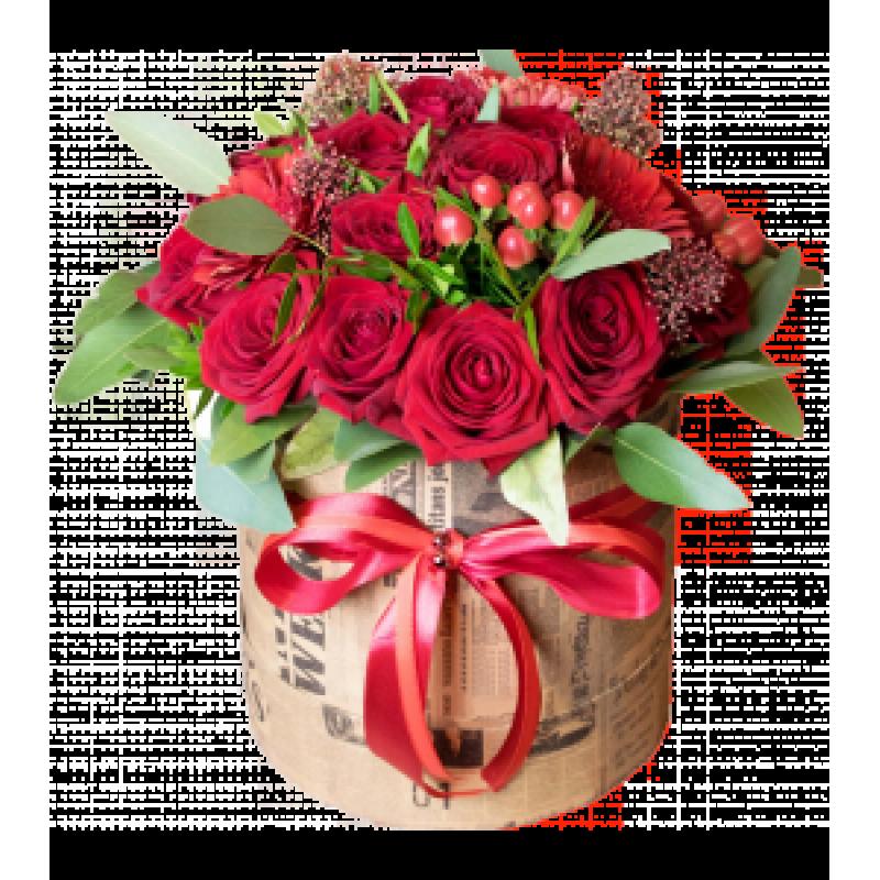 Красные розы Эксплорер в шляпной коробке 25 штук