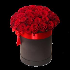 Красные розы в шляпной коробке 35 штук