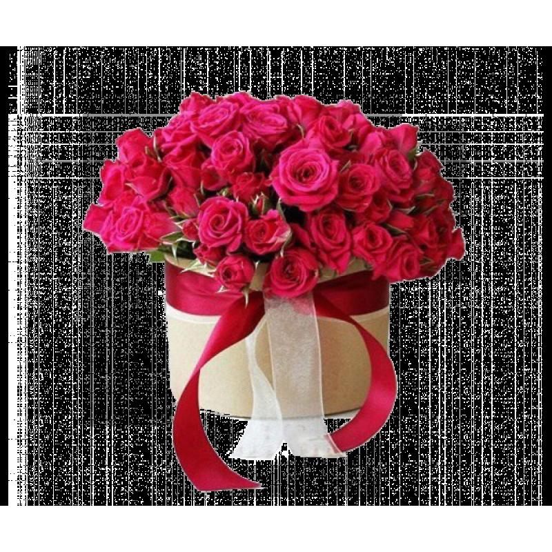 Красные розы в шляпной коробке 51 штука
