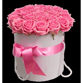 Розовые розы в шляпной коробке 25 штук