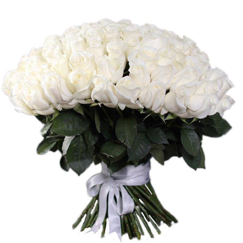 Букет белых роз 51 штука 40 см