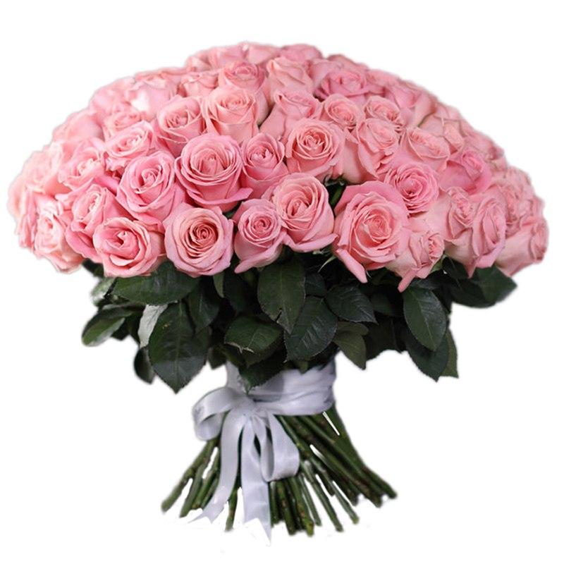 Букет розовых роз Эквадор 101 штука 70 см
