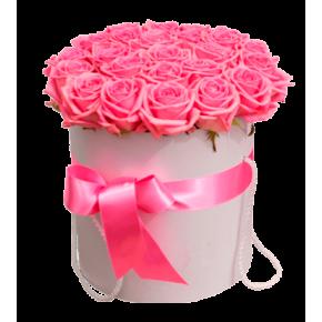 Розовые розы в шляпной коробке 35 штук